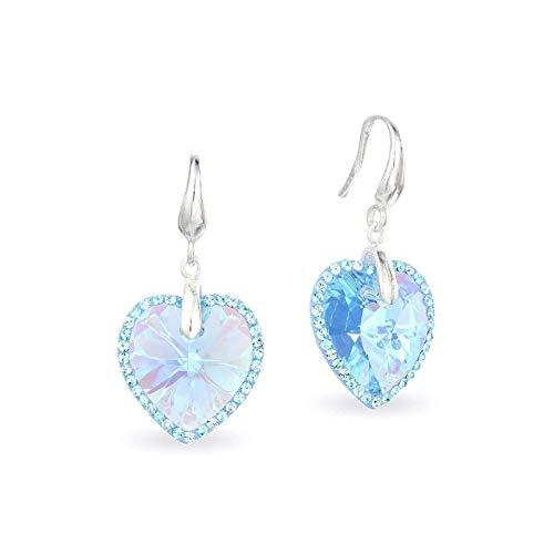 LA SENJA Pendientes corazón de cristal azul aguamarina, pendientes de plata de ley 925, pendientes colgantes, hechos a mano