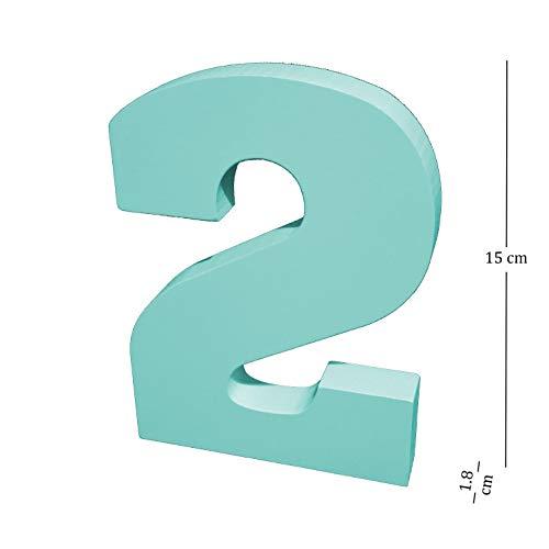 biperopa Letra Números Decorativa Madera DMF Altura 15 Cm