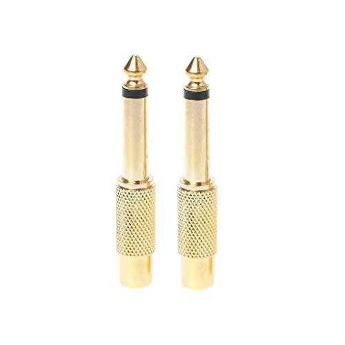 "ZZALLL 2 Piezas 6,35 mm 1/4""Mono Macho Jack a RCA Hembra Enchufe Adaptador de Audio convertidor de Cable"