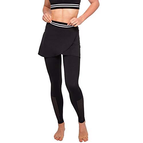 Leggings para mujer con falda, para yoga, pilates, fitness, deporte Negro L