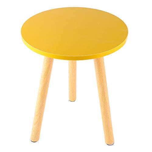 Mesa de centro redonda moderna, lámpara lateral, mesa auxiliar con patas de madera, diámetro 29x36 cm, mesa pequeña blanca para sala de estar,Beige