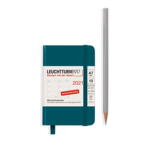LEUCHTTURM1917 Wochenkalender 2021 Hardcover Mini (A7), 12 Monate, Pacific Green, Deutsch