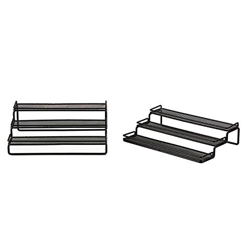 Matedepreso Organizador de especias de 3 niveles para especias con barandilla protectora para armario, encimera, despensa (tamaño negro)