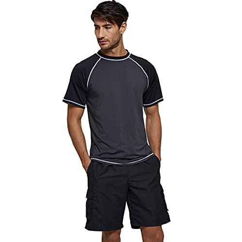 LZJDS Camisetas De Entrenamiento Ligeras para Hombre UPF 50+ Protección Solar SPF Camisetas De Secado Rápido Pesca Senderismo Correr,Gray Black,XXL