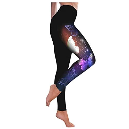 QTJY Pantalones de Yoga con Estampado de Mariposas, Polainas Delgadas del Estiramiento de Cintura Alta de Deportes Corrientes Ocasionales de la Moda de Las Mujeres DL