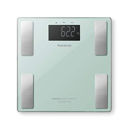 Taurus Syncro Glass Complet Báscula baño digital inteligente,  porcentaje grasa y agua,  masa muscular y ósea,  3- 180 kg,  kg/lb,  28 x 28 x 2 cm,  verde