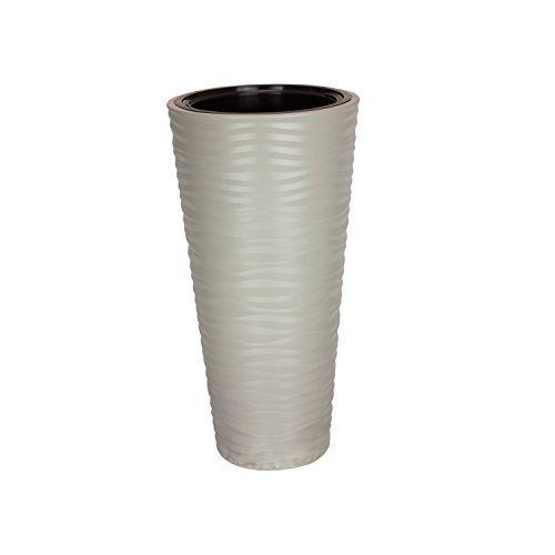 Form Plastic Pot de fleurs Sahara - Structure ondulée brillante - Hauteur : 68,5 cm