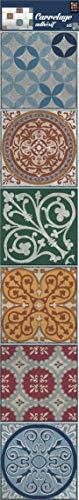 Plage Smooth - Tiles Fliesen Sticker Zementfliesen Naxos [6 Bogen 15 x 15 cm x 5.90'' ], Vinyl, Colorful, 15 x 0,1 x 15 cm