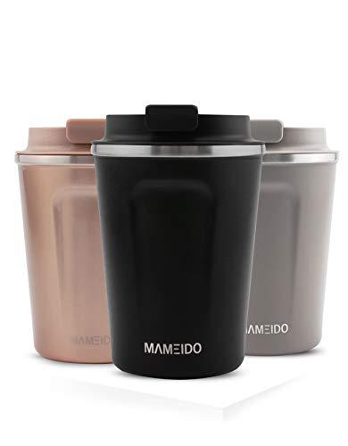MAMEIDO Thermobecher Schwarz Matt 350ml 0,35l - Kaffeebecher, Edelstahl doppelwandig isoliert, auslaufsicher, Coffee to go, Kaffee & Tee Isolierbecher Travel Mug