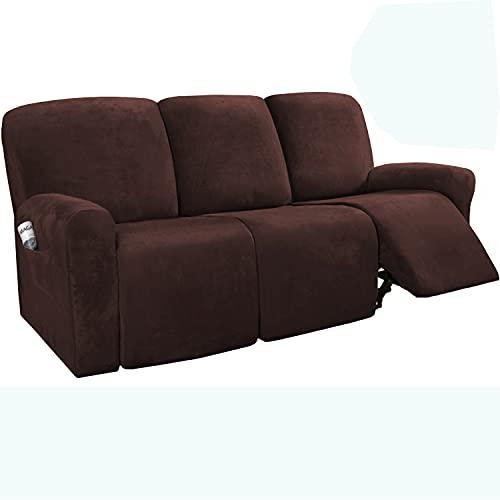 ZYXFYY 8 piezas fundas de sofá reclinable de terciopelo de 3 plazas, fundas de sofá reclinables seccionales (marrón)