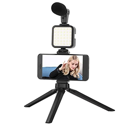 Kit de filmación para teléfono inteligente portátil, kit de entrevista para teléfono móvil portátil con trípode / luz de relleno / micrófono / chip de reducción de ruido para entrevistas en interiores