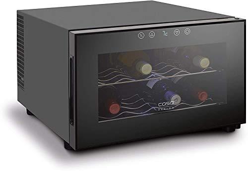 CASO WineCase 8 | Weinkühlschrank für 8 Flaschen Rotwein | 8 - 18°C, Touch und LED, 2 Böden, UV-Filterglas, schwarz verspiegelt