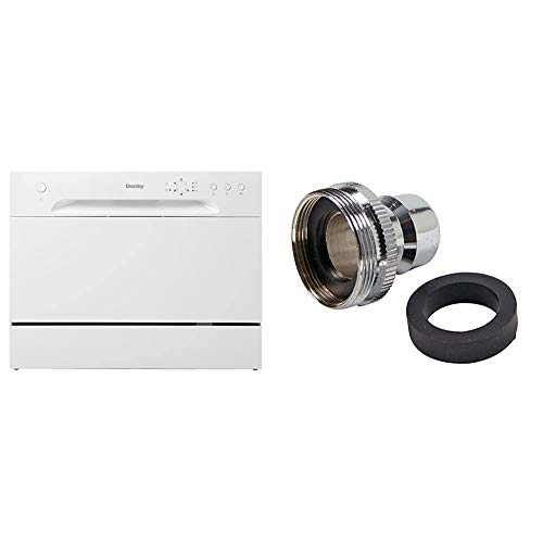 Danby DDW621WDB Countertop Dishwasher, White & Danco Dishwasher Faucet Adapter | Dishwasher Snap Adapter Connection | 15/16-27Male or 55/64-27Female | Chrome (36108E)