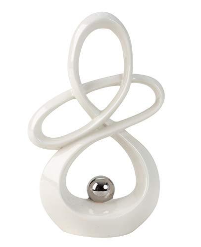 Moderne Skulptur Dekofigur aus Keramik Weiß mit silberner Kugel Höhe 20 cm