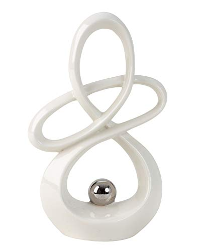 Lifestyle & More Moderne Skulptur Dekofigur aus Keramik Weiß mit silberner Kugel Höhe 20 cm