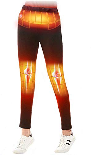 Heated Pants USB Electric Heated Pants Electric Thermal Heating Trousers Men/Women (Battery Not Included) (Black-Women, XL)