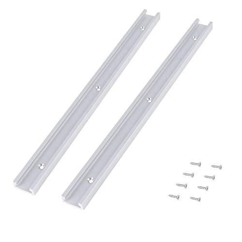 2 trazas t track herramientas de carpinteria T-Slot de aleación de aluminio de 400 mm con tornillos autorroscantes herramientas para trabajar madera