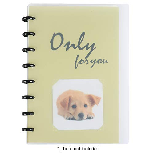 """Eagle Discbound Notebook, Customizable Notebook, Junior Size, Transparent Frosted Poly Cover, """"Only For You"""" Tile/Bottom Inner Pages, 60 Sheets Ruled/Lined Pages (Yellow)"""