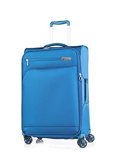 ABISTAB Verage Visionary 4 Doppelrollen Trolley M-69cm 73-88 L erweiterbar, TSA-Schloss, Weichgepäck Reisekoffer Stoff wasserabweisend, Blau