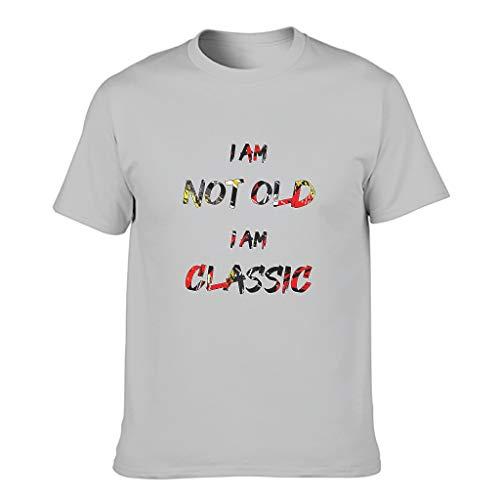 Camiseta de algodón para hombre con mensaje 'I Am Not Old I Am Classic Coole individualidad agradable a la piel, camisa impresa Gris plateado. XXXL