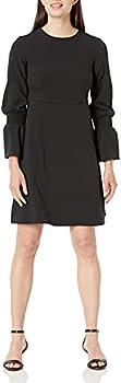 Lark & Ro Women's Stretch Twill Gathered Sleeve Crew Neck Dress