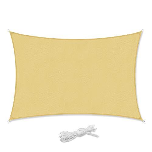 Sekey Sonnensegel Sonnenschutz Rechteckiges Polyester Windschutz Wetterschutz Wasserabweisend Imprägniert 95% UV Schutz, Überlegene Reißfestigkeit für Outdoor mit Seilen, Sand 3×4m