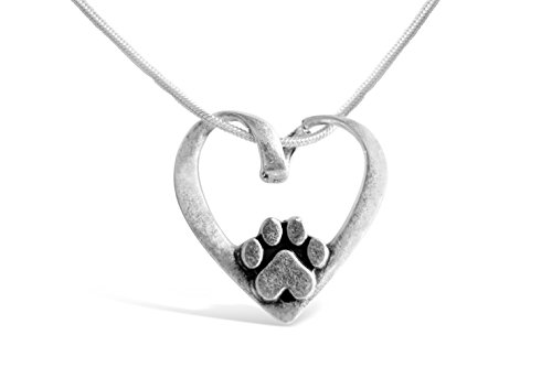 Rosa Vila Heart Shape With Dog Paw Necklace, Puppy Necklace for Owners of All Dog Breeds, Dog Remembrance Necklace, Veterinarian Necklace and K9 Officer Gift for Women (Silver Tone)