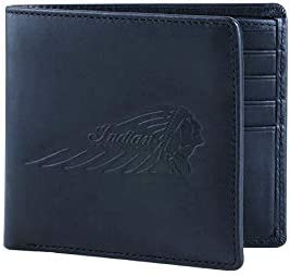 Indian Motorcycle Leather Bi-Fold Wallet with Embossed Logo, Black