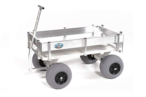 Big Kahuna Beach Wagon-Large Solid Aluminum Deck, Aluminum-Balloon Tires-Rod Holders-No Rust-Walls-Made in USA