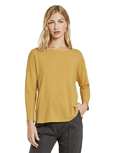 TOM TAILOR Denim Damen Struktur Schleifen T-Shirt, 10410-Indienn Spice Yellow, XL