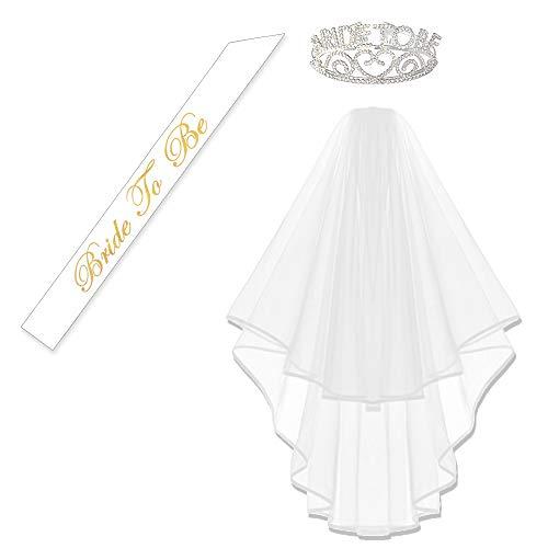 GlitterRhinestone Bride to Be Tiara & White Double Ribbon Edge Center Cascade Bridal Wedding Veil with Comb & Bride To Be Satin Sash