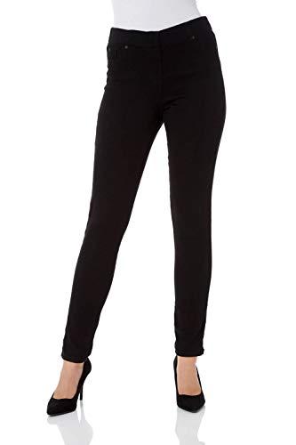 Roman Originals Jeggings épais Denim de première qualité - Pantalon Legging Stretch pour Femme élégant décontracté sculpté Taille Haute Enfiler à élastique Jeans Coton Coupe - Noir - Taille 38