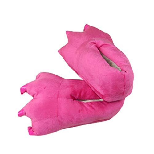 LY-LD Pantoffeln passende Schuhe Verdickung Rutschfeste Flauschige Kinder Hausschuhe korallenrote Fleece Dinosaurier Krallen Schuhe Mädchen/Jungen,A,S