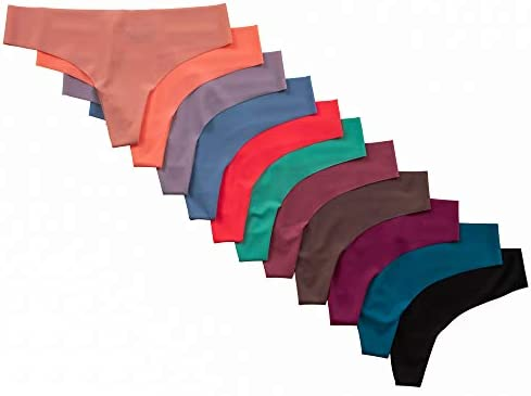 Pretty Sweet Basics Women s No Show Laser Cut Thong Assorted Colors Medium 12 Pack product image