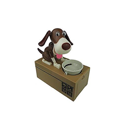 Nicetruc Hucha Banco Perro Husky Juguete del Banco de Moneda del Banco Perrito Perro robótico del Banco de Moneda Canina Caja de Dinero de Negro y Brown Lindo del Perro