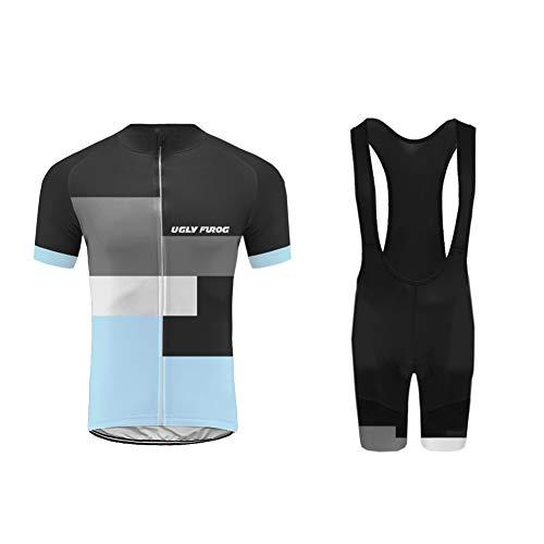 Uglyfrog+ Fahrradtrikot Set Kurzarm Trikot + Radlerhose mit Sitzpolster aus Atmungsaktiv und Schnell Trockend Stoff für Fahrrad Rennrad MTB