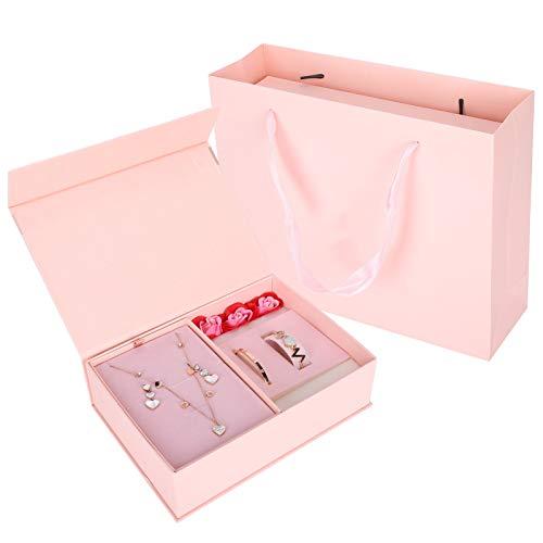 Conjuntos de joyas para mujer, collar de diamantes de imitación con pendientes colgantes en forma de corazón, regalo de pulsera, regalo de cumpleaños de San Valentín