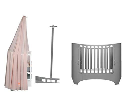 Leander Lit pour bébé et enfant – gris + cadre de ciel gris + ciel de lit rose doux.
