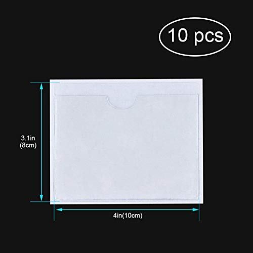 Parking Permit Holder - 10 Pcs Clear Self-Adhesive Ticket and Note Holders Car Windscreen Pass Holder Note Placard Protector Cover for Car, Permits, Badges and Caravan Windscreen (10 Pcs) Photo #2