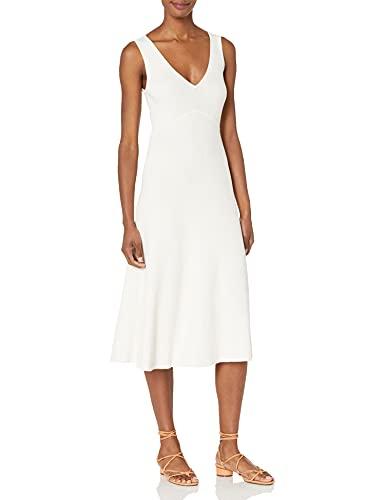 BCBGMAXAZRIA Women's V Neck Maxi Dress, Off White, Medium