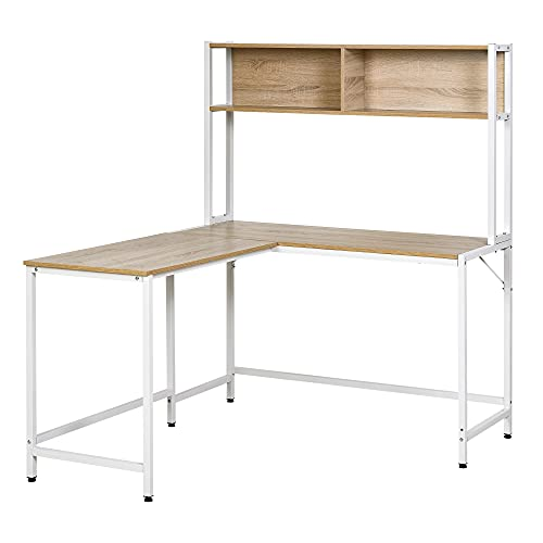 HOMCOM Home Office L-Shaped Computer Desk with Hutch and Storage Shelves, PC Table Study Writing Workstation with 2 Storage Compartments, Bookshelf, Natural Wood Color