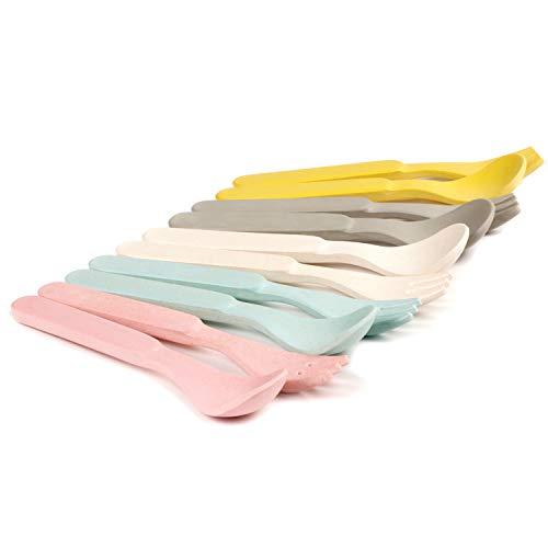10 PCS Bamboo Kids Spoons & Forks Set for Baby Feeding -Dinnerware Utensils Pack for Children, Dishwasher Safe - Natural Tableware, Plastic Free