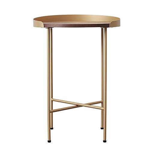 Jcnfa-bijzettafel Het monteren van de koffietafel, Metalen messing hout bijzettafel, Sofa Side Table, De ronde tafel is gemakkelijk te verplaatsen, Feest, Receptie Bijzettafel