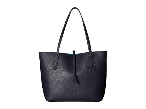 COACH Polished Pebbled Leather Market Tote Dk/Navy Teal One Size