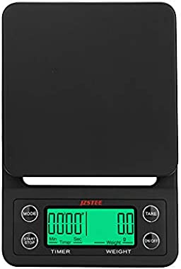 JZSTEE Scale Kitchen Coffee Scale Timer Digital Kitchen Food Kitchen Scale Weight Grams and Oz LCD Display 5kg /0.1g High Pre