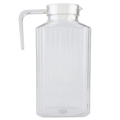 Jeffergarden Acrílico Transparente Jugo Botella Rayado Agua Hielo Jugo Frío Jarra con Tapa para Bar Botellas de Bebidas en Casa (1800ml)