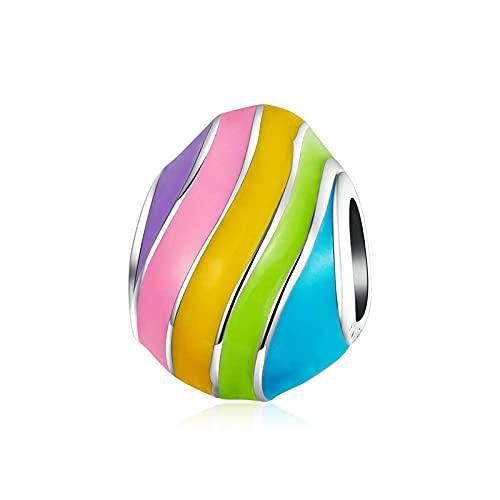 SANHUA S925 Cuentas De Huevo De Pascua Arcoíris De Plata Esterlina Colgante Colorido Adecuado para Pulsera Original Colgante Joyería De Pascua