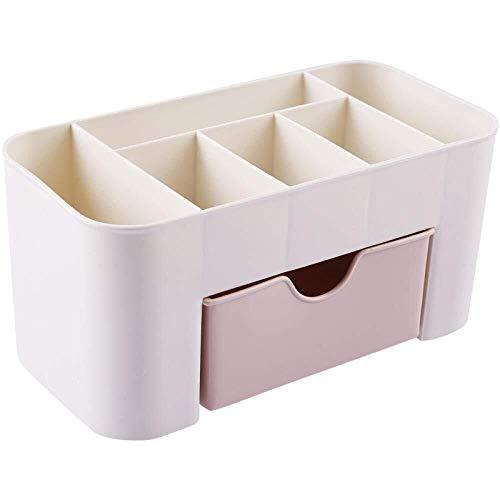 Tangrong Sieraden opbergdoos, eenvoudige multifunctionele plastische lade partitie dressoir opbergdoos, desktop snuisterijen huidverzorgingsproduct afwerking box, drie kleuren (Color : Pink)