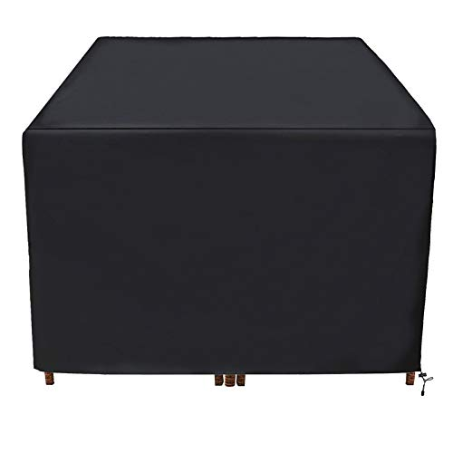 JJCKHE Square Patio Table Cover, Outdoor Waterproof Dining Table Chair Set Cover, Durable Protective Furniture Cover for Garden Outdoor Indoor Furniture,Black