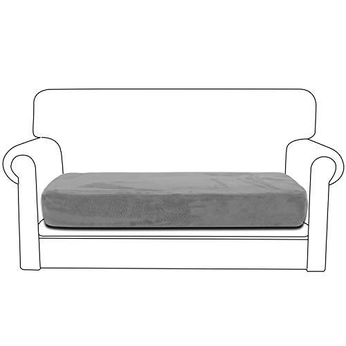 Rose Home Fashion Stretch Sofa Polsterbezug für 2 Sitzer, 1 Stück Elastischer Sofa Sitzkissenbezug Samt-Optisch, Stuhl Schonbezug Geeignet für Sitzpolster SitzKissen, Hellgrau